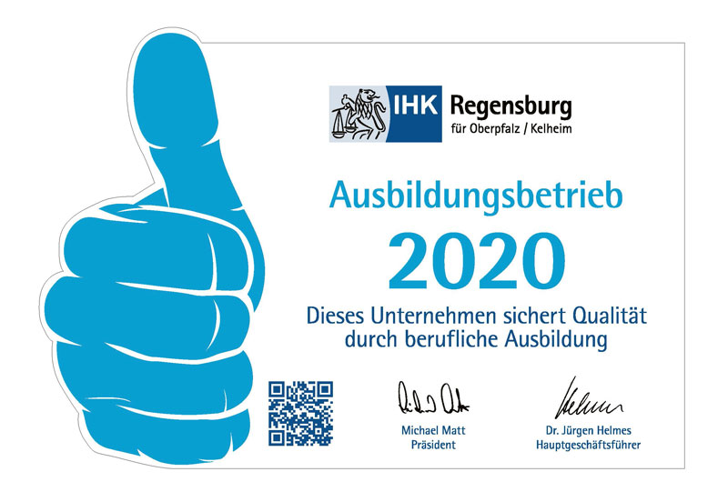 "ROFA-LEHMER has been awarded ""IHK-Training Company 2020"""