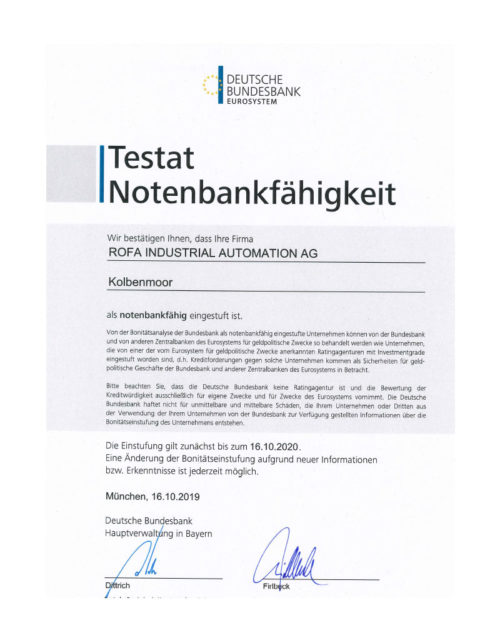Die ROFA AG erhält das Testat Notenbankfähigkeit